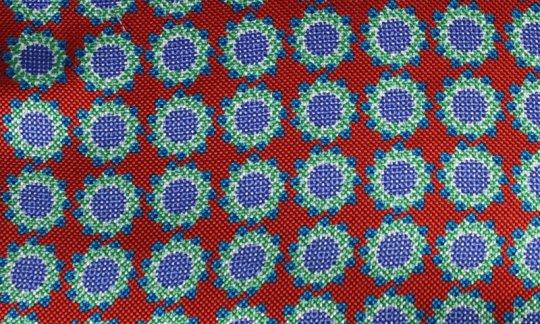 Krawatte Rot, Blau - Blumen, Dessin 200059