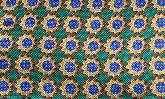 Krawattenschal Rot, Gelb, Gruen, Gold, Blau - Blumen, Dessin 200060