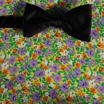 Schleife-Fliege Gelb, Gruen, Weiß, Orange, Violett, Grau - Blumen, Dessin 200063