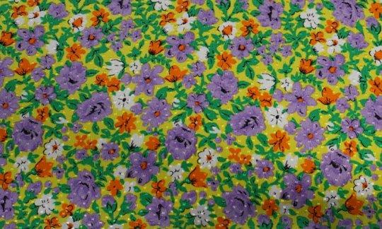 Plastron Gelb, Gruen, Weiß, Orange, Violett, Grau - Blumen, Dessin 200063