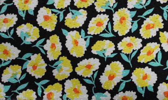 Krawatte Schwarz, Gelb, Gruen, Weiß - Blumen, Dessin 200066