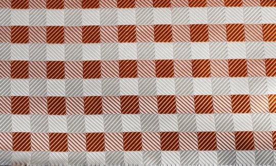 Einstecktuch Silber, Weiß, Orange, Terracotta - Karos, Dessin 200077
