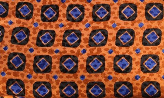 Kummerbund Blau, Schwarz, Orange - Karos, Dessin 200083