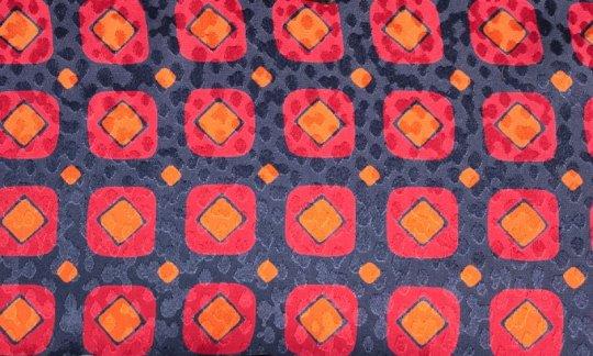 Seidenschal Rot, Blau, Marine, Orange - Karos, Dessin 200087