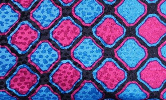 Seidenschal Rot, Blau, Schwarz - Karos, Dessin 200092