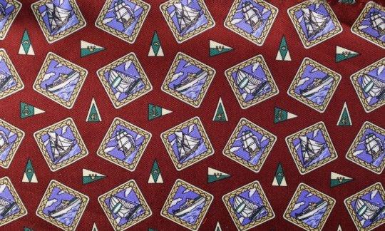Plastron Blau, Weinrot - Motive, Dessin 200107