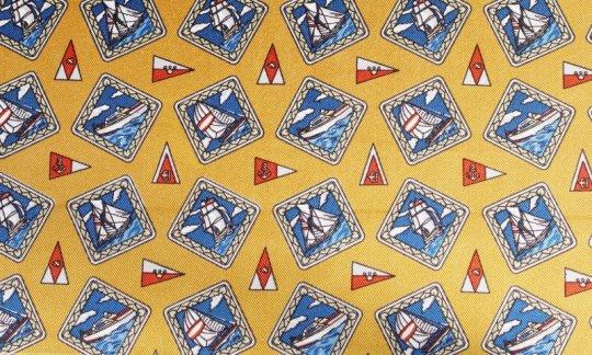 Einstecktuch Rot, Gelb, Gold, Blau - Karos, Dessin 200111