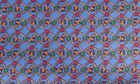 Krawattenschal Gelb, Blau - gemustert, Dessin 200134