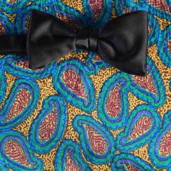 Schleife-Fliege Gelb, Blau, Braun - Paisley, Dessin 200150