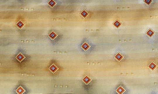 Seidenschal Gold, Terracotta - Karos, Dessin 200181
