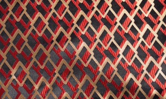 Kummerbund Schwarz, Rot, Gold - gemustert, Dessin 200187