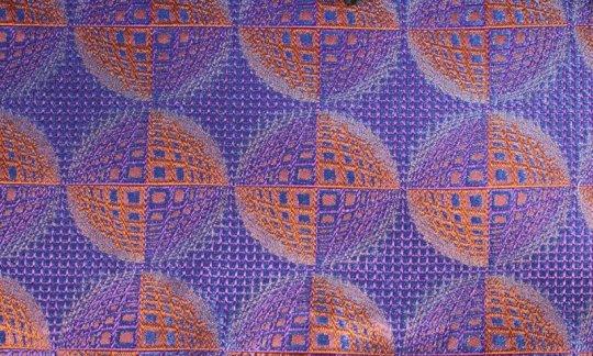 Seidenschal Blau, Marine, Orange, Terracotta - gemustert, Dessin 200208