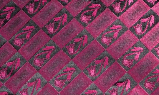 Plastron Rot, Weinrot - Blumen, Dessin 200211