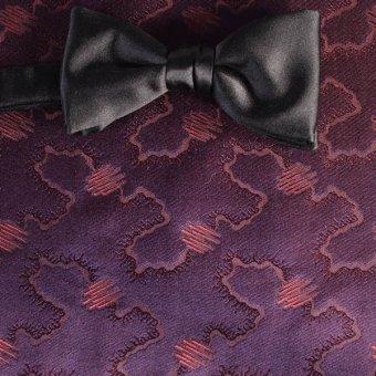 Schleife-Fliege Weinrot, Violett - Ton in Ton, Dessin 200215