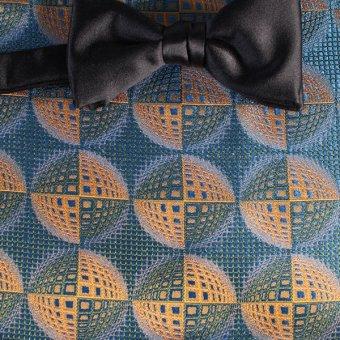 Schleife-Fliege Gelb, Gruen, Blau - gemustert, Dessin 200225