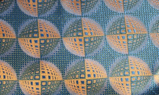 Krawatte Gelb, Gruen, Blau - gemustert, Dessin 200225