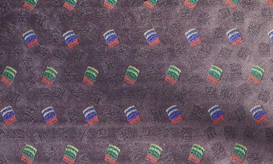 Seidenschal Rot, Gelb, Blau, Braun, Weinrot - gemustert, Dessin 200244