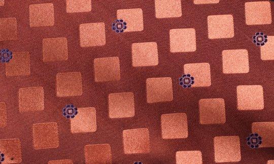 Seidenschal Karos Terracotta-Töne mit Blümchen Marine, Dessin 200270