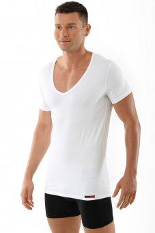 Herren Unterhemd deep-v-neck-shirt weiß