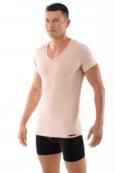 """Hautfarbenes Unterhemd / Herrenunterhemd """"unsichtbar"""" V-Ausschnitt"""