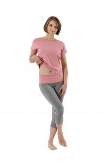 professionelles Design großer Rabattverkauf Wählen Sie für authentisch Damen Schlafanzug 3/4 Hose und Kurzarm-Shirt Stretch-Baumwolle rosa-grau