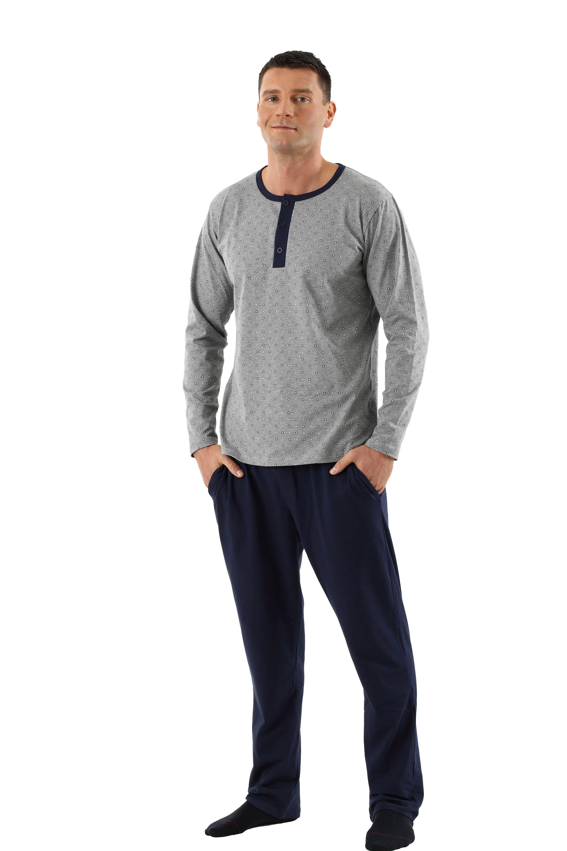 reputable site d1a36 489e2 Herren Schlafanzug Langarm mit langen Hosen Stretch-Baumwolle marine - grau  gemustert