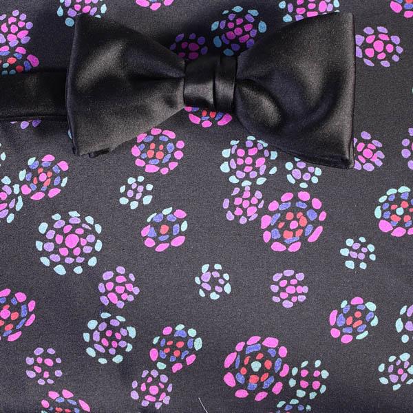 Schleife fliege schwarz violett blumen dessin 200152 for Blumen fliegen