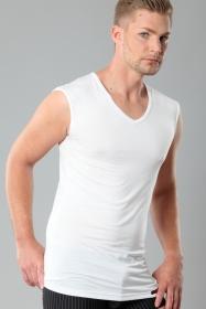 Herren Unterhemd-Light ohne Arm Stuttgart Weiss 92% Micromodal 8% Elastan