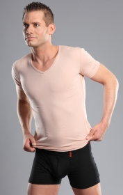Herren Unterhemd Hautfarbe V-Ausschnitt 92% Baumwolle 8% Elastan